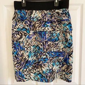 Alfani Petites Tiered Skirt Blue Watercolor Print